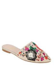 Kate Spade Monteclair Embroidered Canvas Mules Multicolor