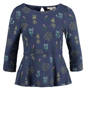 White Stuff Storyteller Long Sleeved Top Wallpaper Blue Dark Blue