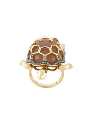 Christina Debs Turtle Diamond Ring Metallic