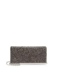La Regale Embellished Faux Leather Clutch Grey