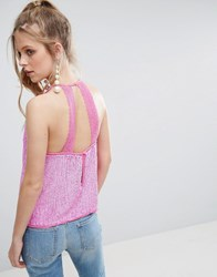 Asos Sequin Cami With Lace Open Back Pink
