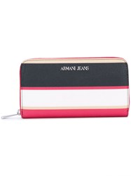 Armani Jeans Striped Wallet Women Synthetic Resin One Size Pink Purple