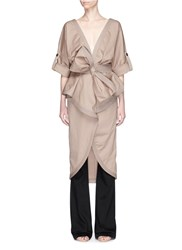 Johanna Ortiz 'Patagonia' Bow Belt Ruffle Trench Coat Brown