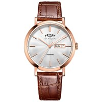 Rotary Gs90157 02 Men's Les Originales Windsor Day Date Leather Strap Watch Tan Silver