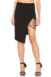 Michelle Mason Mesh Panel Asymmetrical Skirt Black
