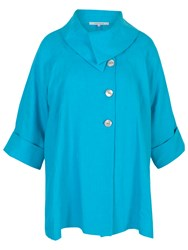 Chesca Linen Large Collar Coat Turquoise