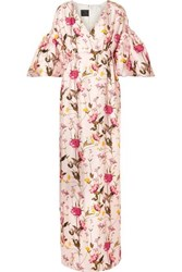 Mother Of Pearl Scarlett Faux Embellished Floral Print Silk Twill Maxi Dress Pastel Pink