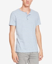 Kenneth Cole New York Men's Marled Striped Henley Cadet Blue
