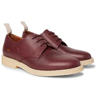 Common Projects Cadet Pebble Grain Leather Derby Shoes Burgundy