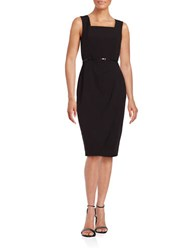 Calvin Klein Belted Sheath Dress Black