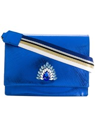 Gum Embellished Shoulder Bag Blue