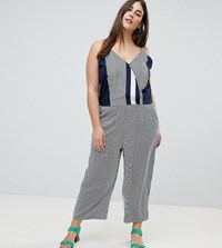 Ax Paris Plus Irregular Stripe Jumpsuit Navy White Stripe Multi