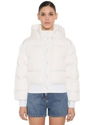 Msgm Cropped Down Jacket W Hood White