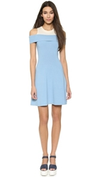 Chloe Sevigny For Opening Ceremony Veronia Rib Off The Shoulder Flare Dress Sky Blue