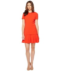 Tahari By Arthur S. Levine Mock Two Piece Dropwaist Dress Flame Red Women's Dress