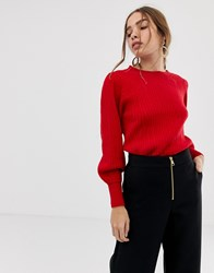 Selected Balloon Sleeve Knitted Jumper True Red