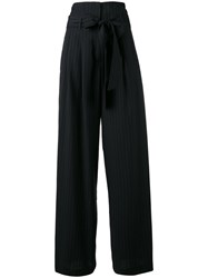 Off White Wide Leg Pinstripe Trousers Women Cotton Wool Xs Blue