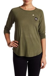 Hip Long Sleeve Knit Embroidered Patch Tee Green