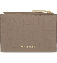 Whistles Matte Crocodile Embossed Leather Coin Purse Grey