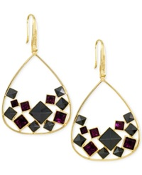 Sis By Simone I Smith Purple Crystal And Jet Pyramid Stud Teardrop Earrings In 18K Gold Over Sterling Silver