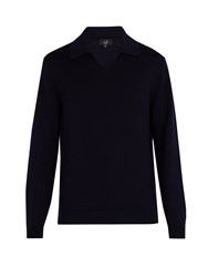 Dunhill Spread Collar Wool Sweater Navy