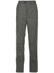 Strateas Carlucci Straight Check Trousers Grey