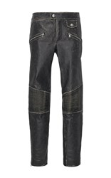 Red Valentino Vintage Effect Leather Pant With Jersey Panel Black