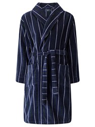 John Lewis Stripe Velour Cotton Robe Navy