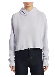 Theory Cropped Cashmere Hoodie Lavender