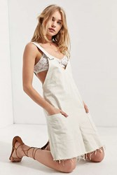 Bdg Relaxed Fit Frayed Hem Coverall Romper Tan