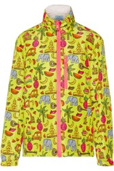 Prada Hooded Printed Silk Faille Jacket Lime Green