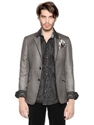 Etro Micro Houndstooth Silk And Wool Jacket Black Grey