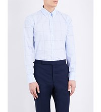 Turnbull And Asser Checked Regular Fit Cotton Shirt Sky White