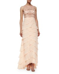 Sue Wong Sleeveless Embroidered Ruffle Gown Pink