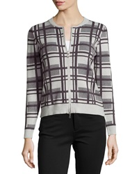 P. Luca Long Sleeve Knit Zip Front Plaid Cardigan Charcoal P