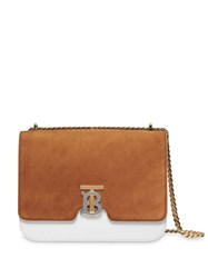 Burberry Medium Two Tone Leather And Suede Tb Bag White