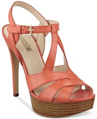 Guess Women's Kymma Strappy Platform Dress Sandals Women's Shoes Pink