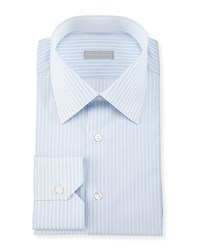 Stefano Ricci Fancy Striped Woven Dress Shirt Blue Women's