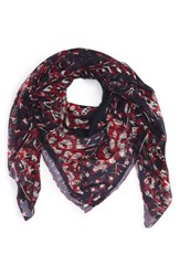 Alexander Mcqueen Women's Shallow Dream Silk Shawl Navy Red