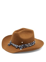 Maison Michel Lucky Rabbit Fur Felt Cowboy Hat Camel