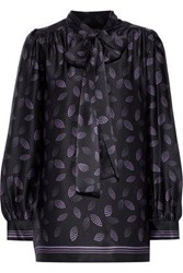 Anna Sui Pussy Bow Printed Silk Satin Blouse Black