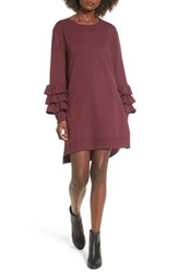 Women's Bp. Tier Sleeve Sweatshirt Dress Burgundy Royale
