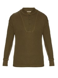 Bottega Veneta Long Sleeved Henley T Shirt Khaki