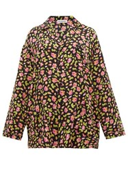 Balenciaga Oversized Rose Jacquard Silk Shirt Black Multi