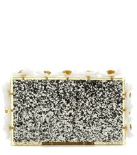 Charlotte Olympia Floral Pandora Box Clutch Silver