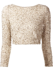 Alice Olivia Bead Embellished Crop Top Nude And Neutrals