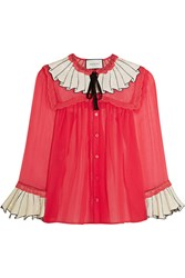 Gucci Sequin Embellished Silk Chiffon Shirt Crimson