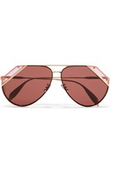 Alexander Mcqueen Aviator Style Gold Tone And Acetate Sunglasses One Size