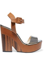 Jimmy Choo Nico Metallic Leather Wedge Sandals Tan