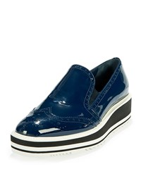 Prada Patent Leather Wing Tip Loafer Blue Size 40.5B 10.5B Black Royal